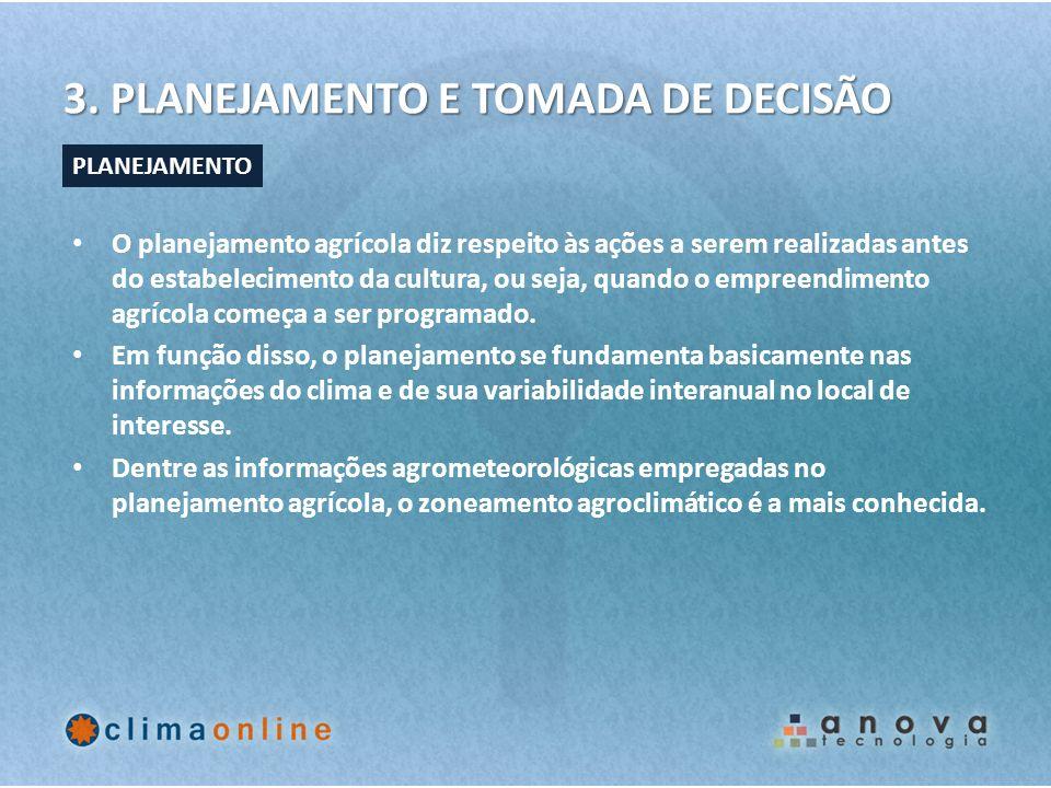 3. PLANEJAMENTO E TOMADA DE DECISÃO O planejamento agrícola diz respeito às ações a serem realizadas antes do estabelecimento da cultura, ou seja, qua