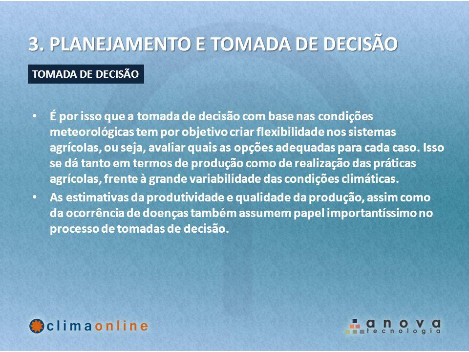 3. PLANEJAMENTO E TOMADA DE DECISÃO É por isso que a tomada de decisão com base nas condições meteorológicas tem por objetivo criar flexibilidade nos