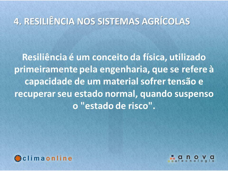 4. RESILIÊNCIA NOS SISTEMAS AGRÍCOLAS Resiliência é um conceito da física, utilizado primeiramente pela engenharia, que se refere à capacidade de um m
