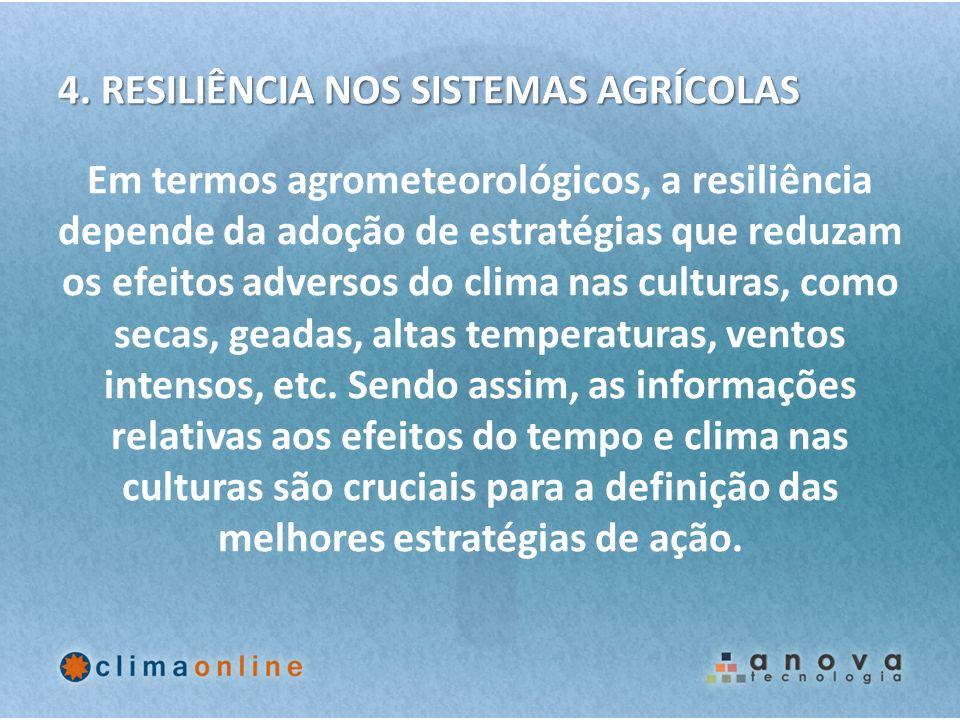 4. RESILIÊNCIA NOS SISTEMAS AGRÍCOLAS Em termos agrometeorológicos, a resiliência depende da adoção de estratégias que reduzam os efeitos adversos do