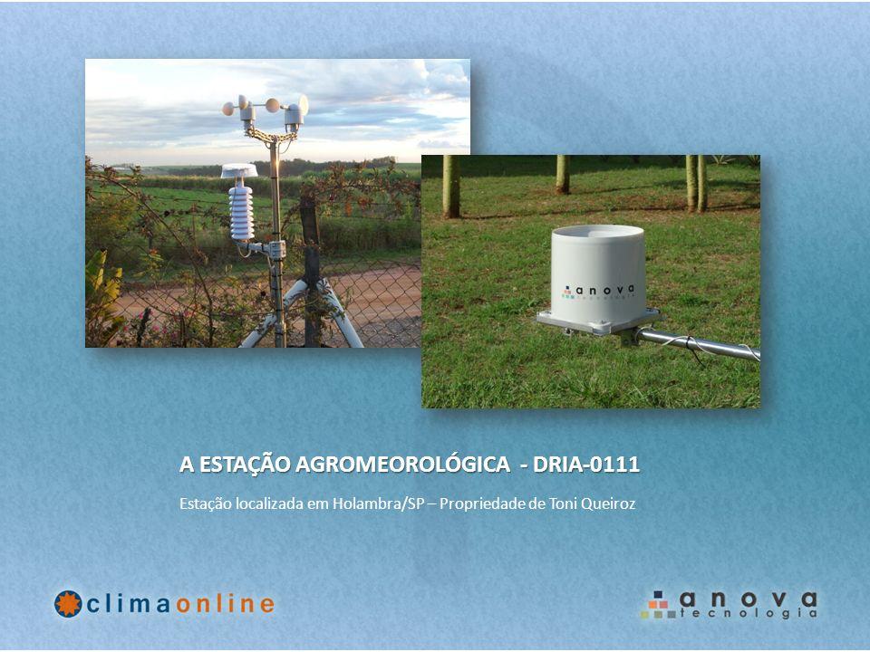 A ESTAÇÃO AGROMEOROLÓGICA - DRIA-0111 Estação localizada em Holambra/SP – Propriedade de Toni Queiroz