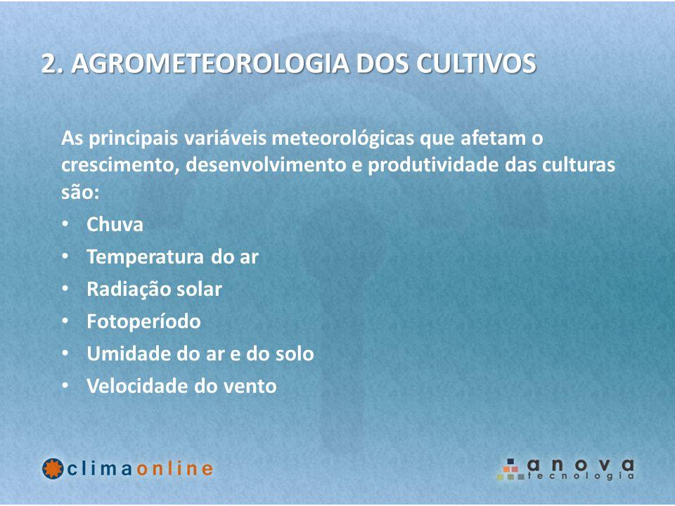 2. AGROMETEOROLOGIA DOS CULTIVOS As principais variáveis meteorológicas que afetam o crescimento, desenvolvimento e produtividade das culturas são: Ch