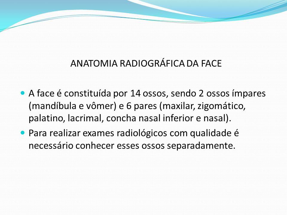 ANATOMIA RADIOGRÁFICA DA FACE A face é constituída por 14 ossos, sendo 2 ossos ímpares (mandíbula e vômer) e 6 pares (maxilar, zigomático, palatino, l