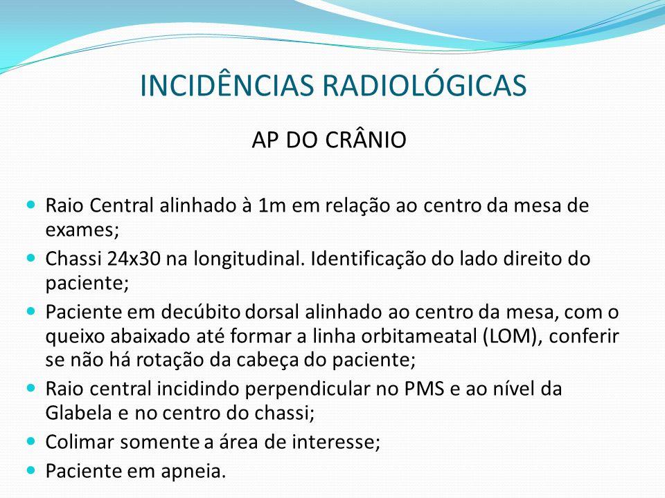 INCIDÊNCIAS RADIOLÓGICAS AP DO CRÂNIO Raio Central alinhado à 1m em relação ao centro da mesa de exames; Chassi 24x30 na longitudinal. Identificação d