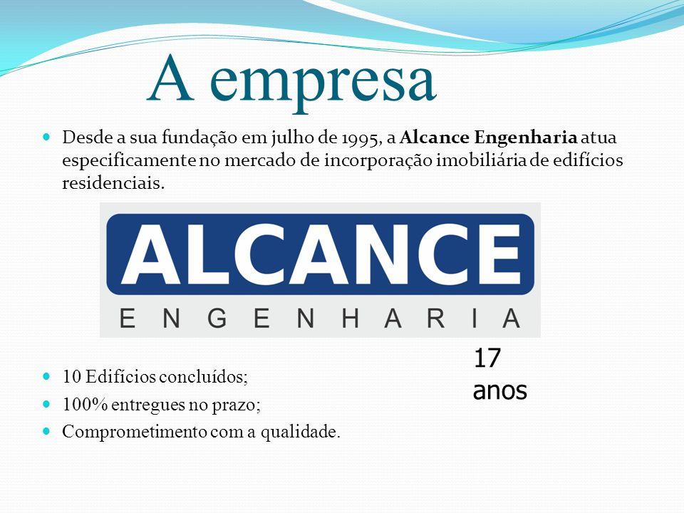 A empresa Desde a sua fundação em julho de 1995, a Alcance Engenharia atua especificamente no mercado de incorporação imobiliária de edifícios residen