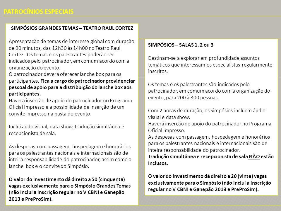 PATROCÍNIOS ESPECIAIS SIMPÓSIOS GRANDES TEMAS – TEATRO RAUL CORTEZ Apresentação de temas de interesse global com duração de 90 minutos, das 12h30 às 1