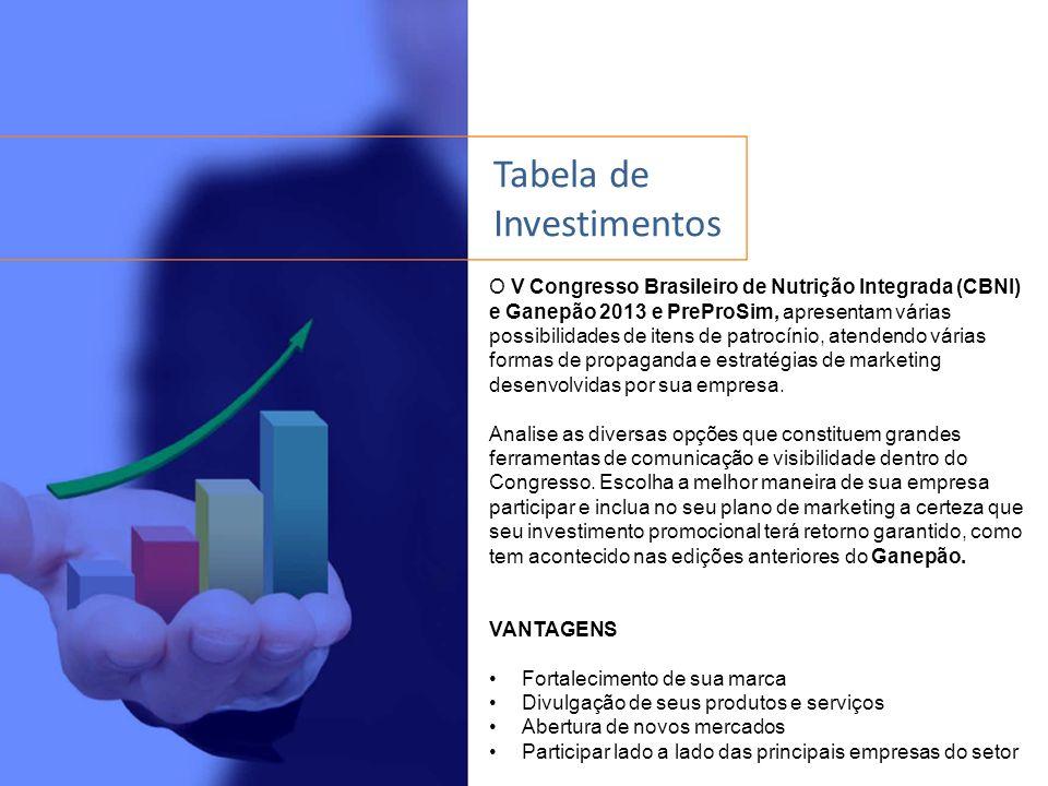 Tabela de Investimentos O V Congresso Brasileiro de Nutrição Integrada (CBNI) e Ganepão 2013 e PreProSim, apresentam várias possibilidades de itens de