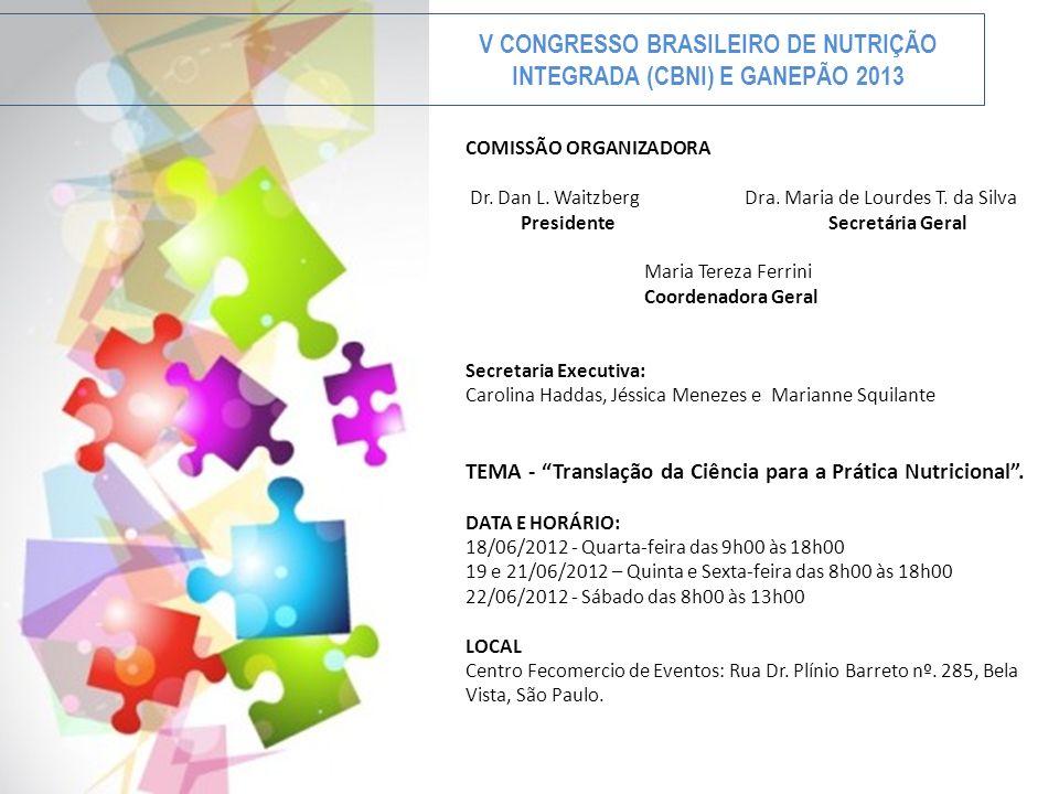 V CONGRESSO BRASILEIRO DE NUTRIÇÃO INTEGRADA (CBNI) E GANEPÃO 2013 COMISSÃO ORGANIZADORA Dr. Dan L. Waitzberg Dra. Maria de Lourdes T. da Silva Presid