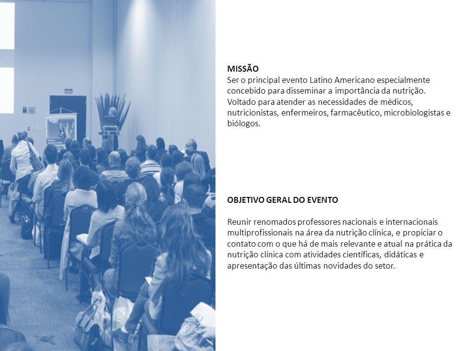 MISSÃO Ser o principal evento Latino Americano especialmente concebido para disseminar a importância da nutrição. Voltado para atender as necessidades