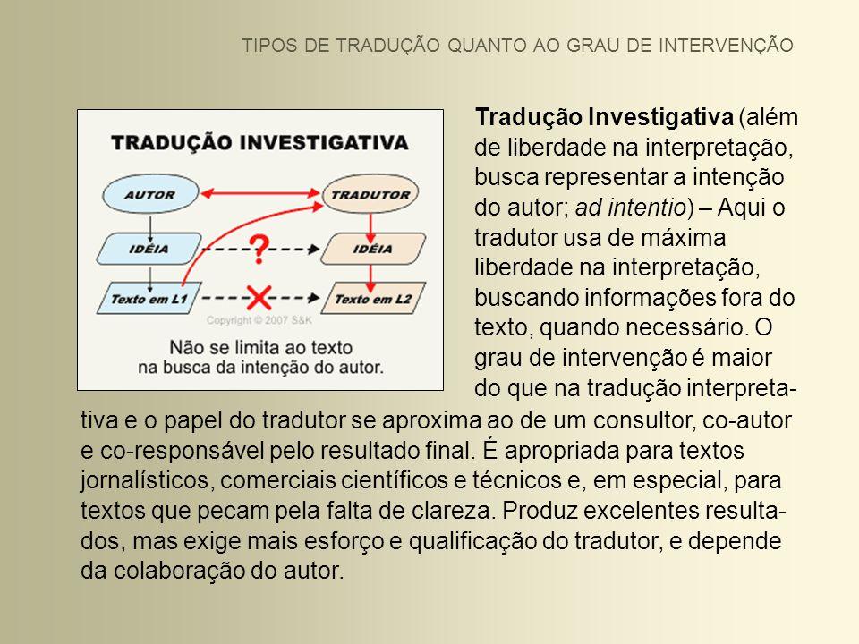 Tradução Investigativa (além de liberdade na interpretação, busca representar a intenção do autor; ad intentio) – Aqui o tradutor usa de máxima liberd