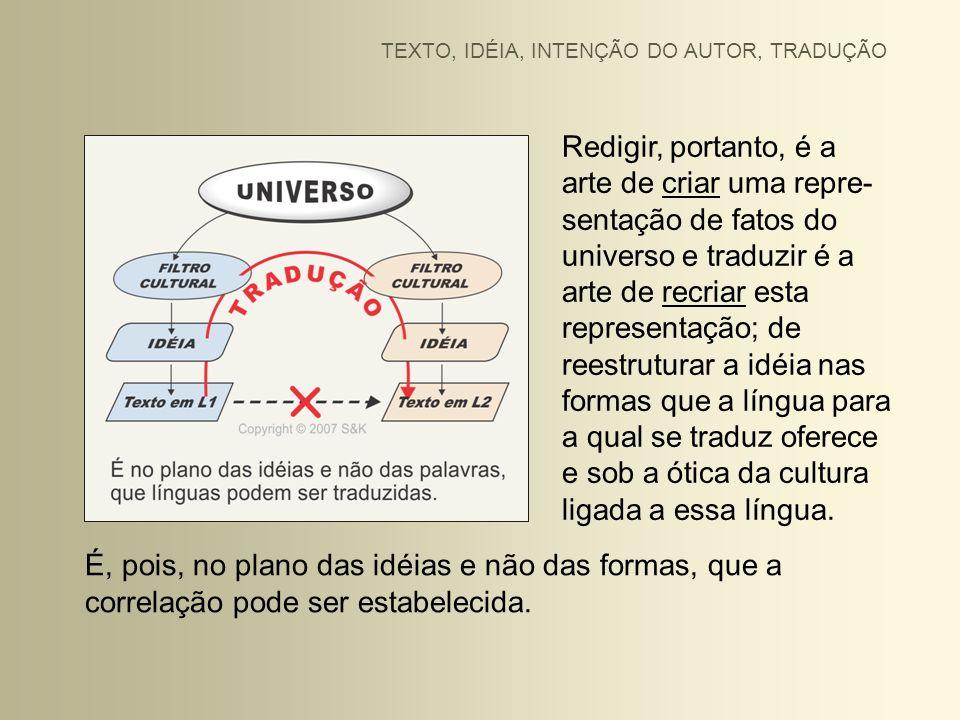 Redigir, portanto, é a arte de criar uma repre- sentação de fatos do universo e traduzir é a arte de recriar esta representação; de reestruturar a idé