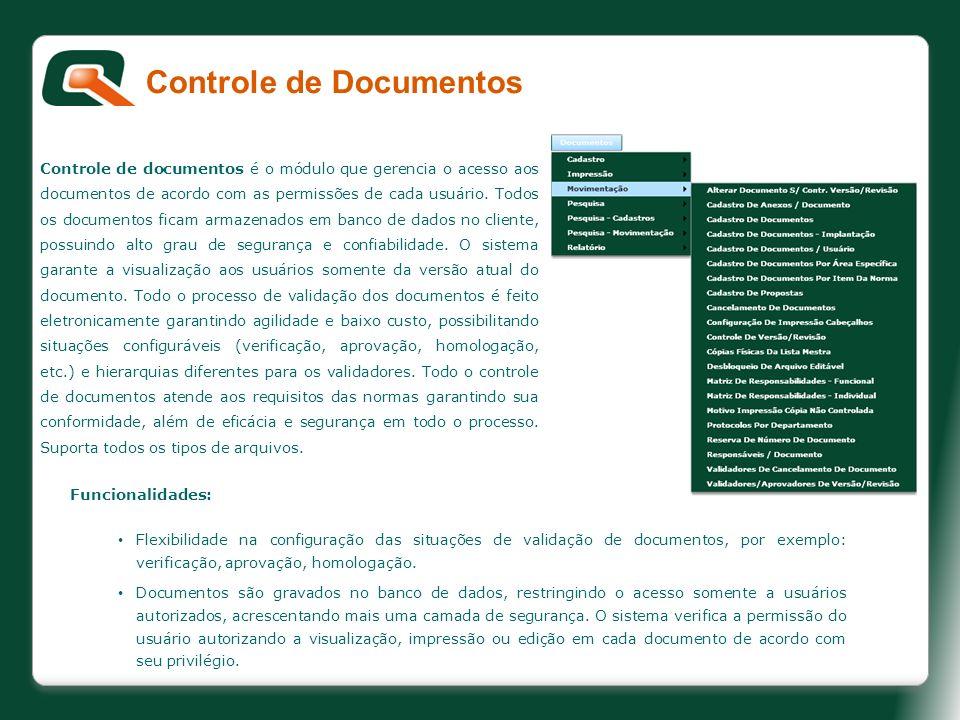 Controle de documentos é o módulo que gerencia o acesso aos documentos de acordo com as permissões de cada usuário. Todos os documentos ficam armazena