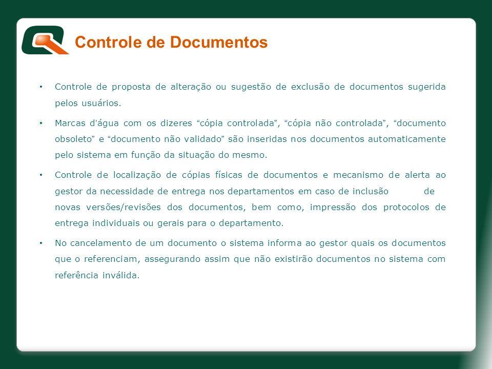 Controle de proposta de alteração ou sugestão de exclusão de documentos sugerida pelos usuários. Marcas dágua com os dizeres cópia controlada, cópia n