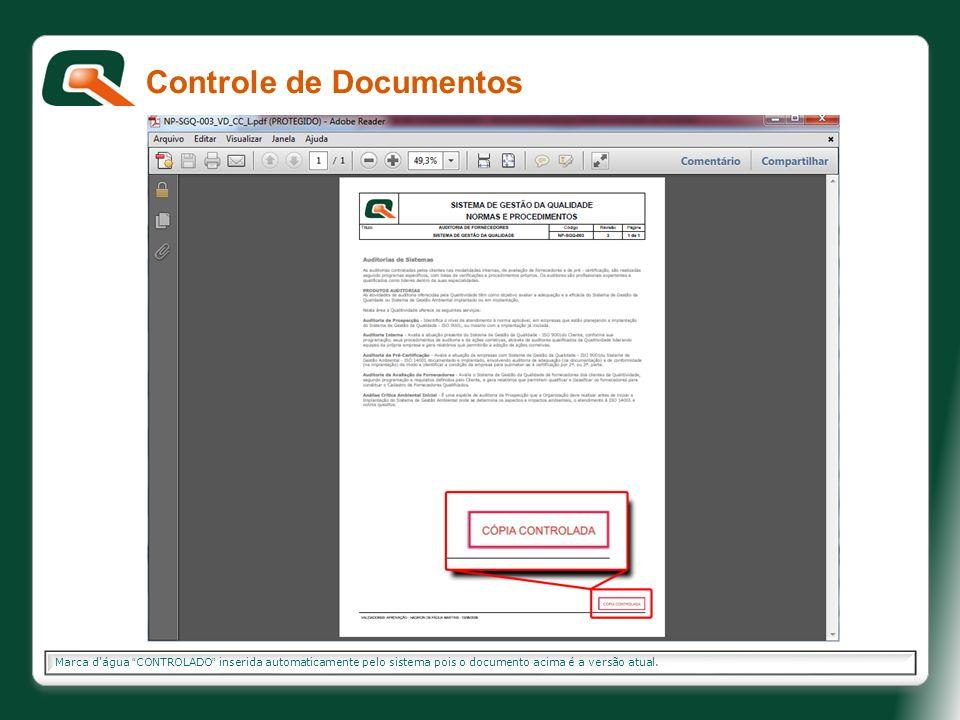 Marca d'água CONTROLADO inserida automaticamente pelo sistema pois o documento acima é a versão atual. Controle de Documentos