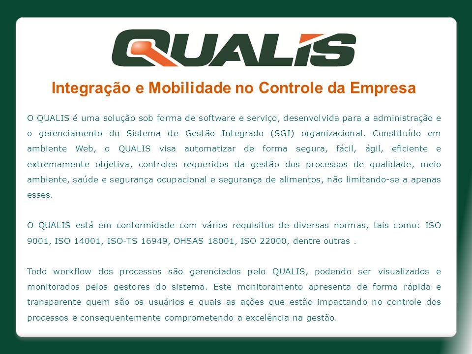 Integração e Mobilidade no Controle da Empresa O QUALIS é uma solução sob forma de software e serviço, desenvolvida para a administração e o gerenciam