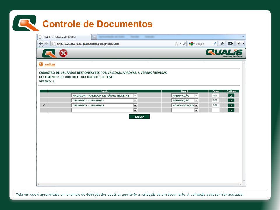 Tela em que é apresentado um exemplo de definição dos usuários que farão a validação de um documento. A validação pode ser hierarquizada. Controle de