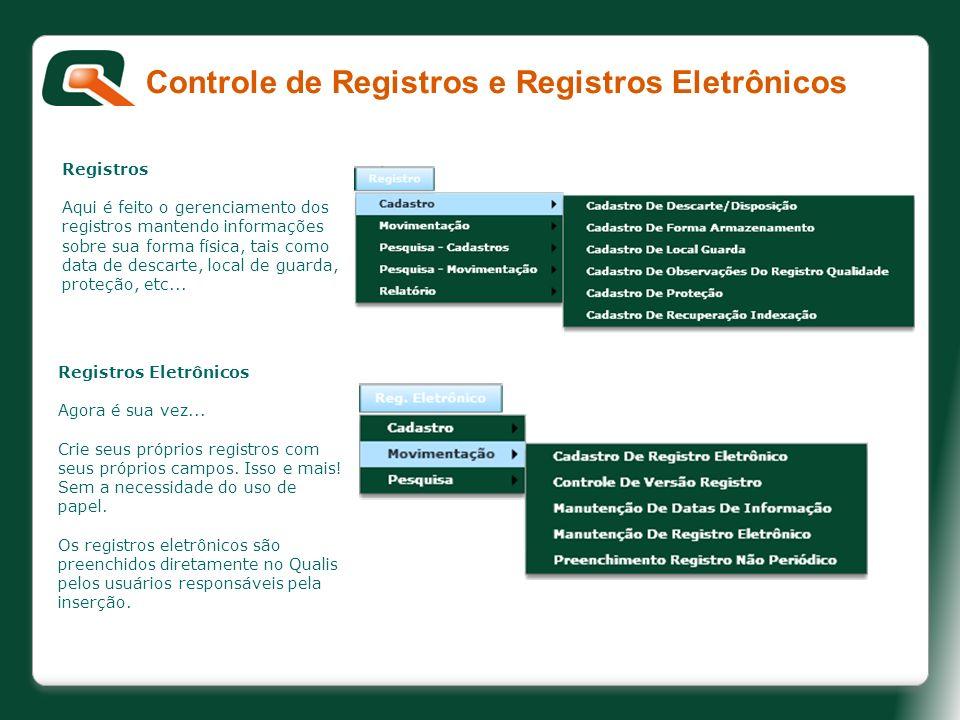 Controle de Registros e Registros Eletrônicos Registros Aqui é feito o gerenciamento dos registros mantendo informações sobre sua forma física, tais c