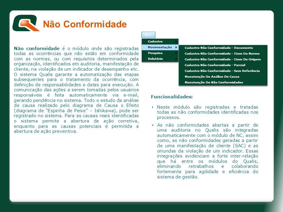 Não conformidade é o módulo onde são registradas todas as ocorrências que não estão em conformidade com as normas, ou com requisitos determinados pela