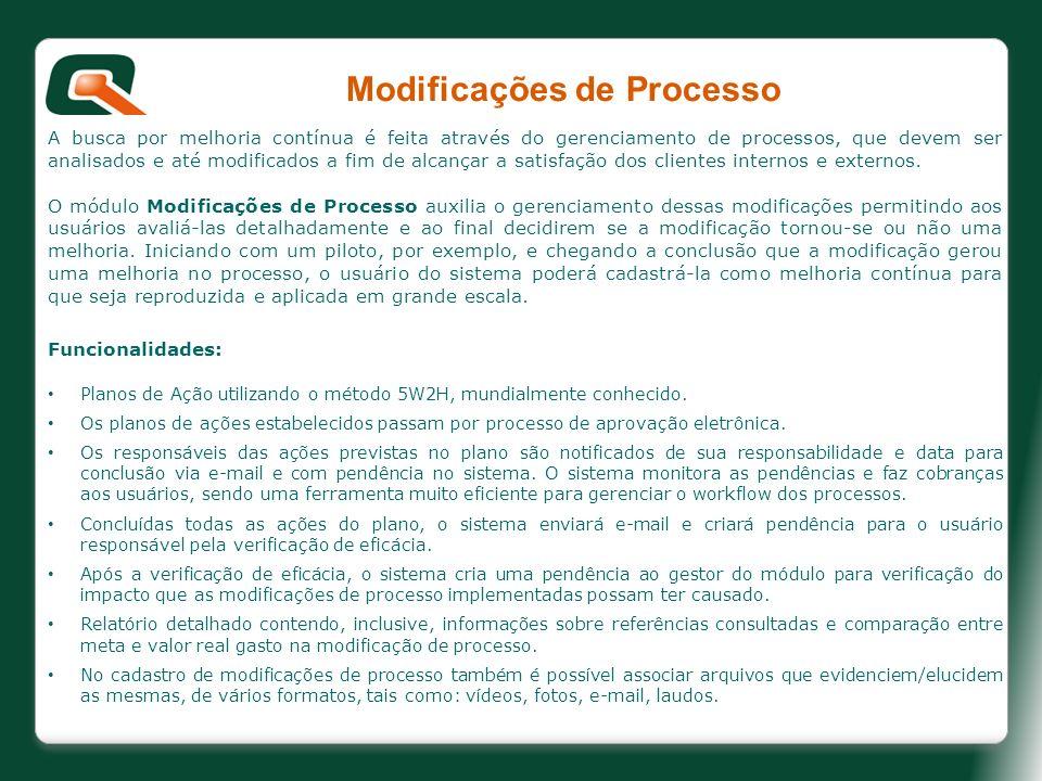 Modificações de Processo A busca por melhoria contínua é feita através do gerenciamento de processos, que devem ser analisados e até modificados a fim