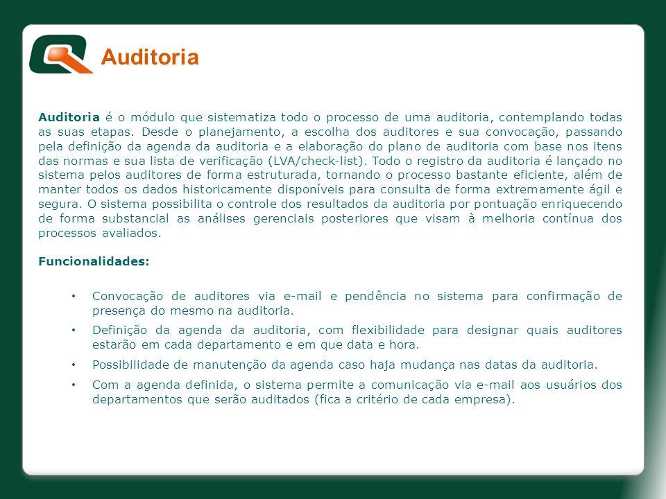 Auditoria é o módulo que sistematiza todo o processo de uma auditoria, contemplando todas as suas etapas. Desde o planejamento, a escolha dos auditore