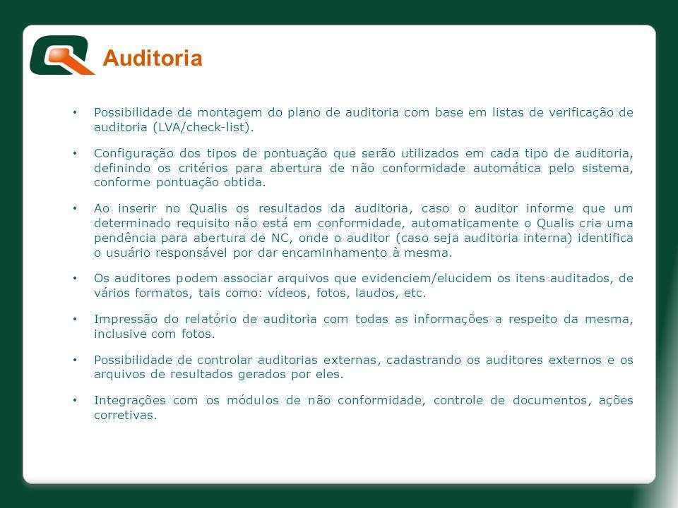 Possibilidade de montagem do plano de auditoria com base em listas de verificação de auditoria (LVA/check-list). Configuração dos tipos de pontuação q