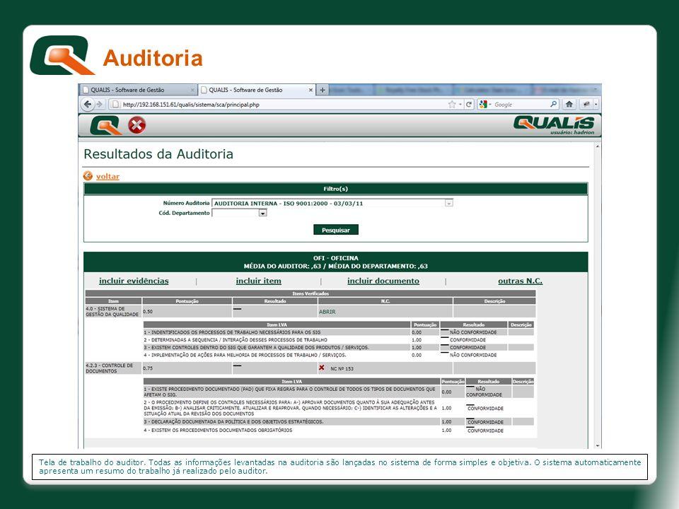 Tela de trabalho do auditor. Todas as informações levantadas na auditoria são lançadas no sistema de forma simples e objetiva. O sistema automaticamen