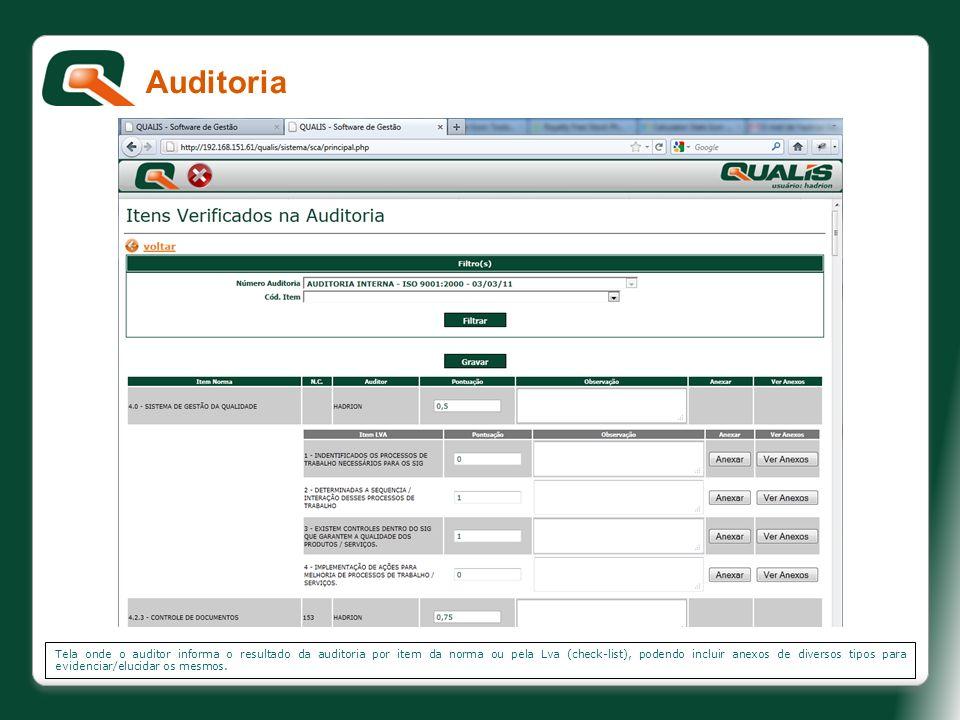Tela onde o auditor informa o resultado da auditoria por item da norma ou pela Lva (check-list), podendo incluir anexos de diversos tipos para evidenc