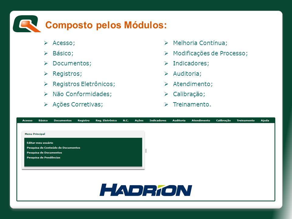 Composto pelos Módulos: Acesso; Básico; Documentos; Registros; Registros Eletrônicos; Não Conformidades; Ações Corretivas; Ações Preventivas; Melhoria