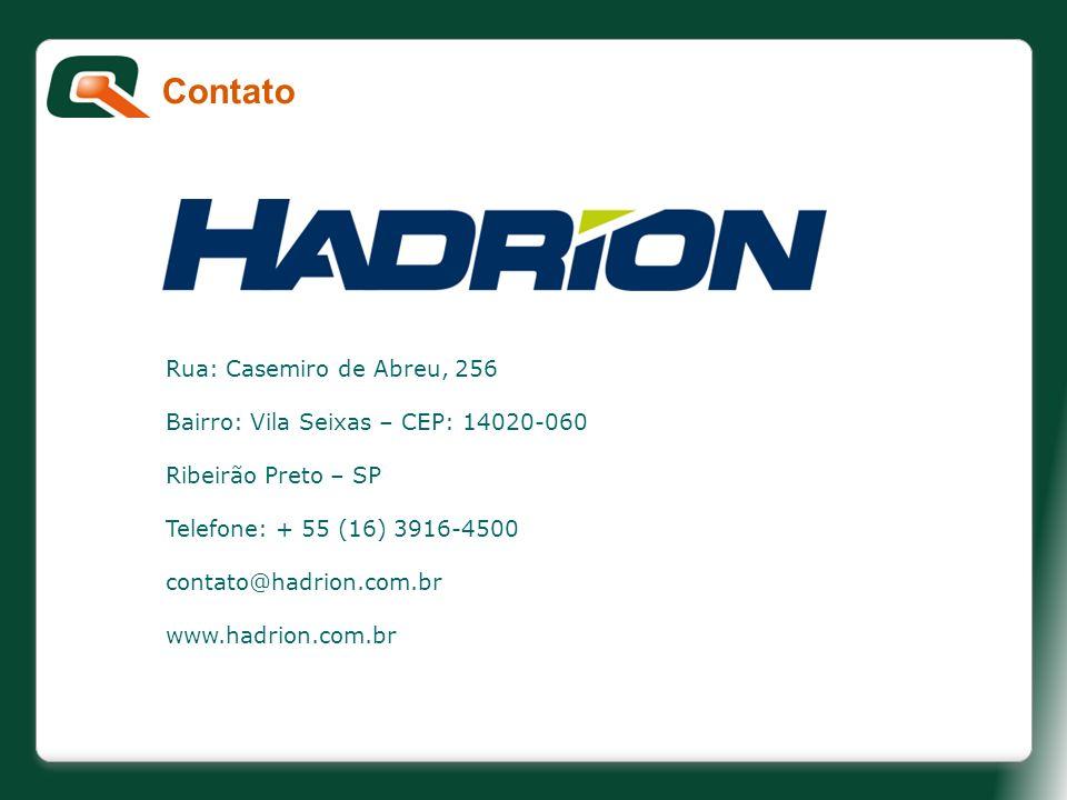 Contato Rua: Casemiro de Abreu, 256 Bairro: Vila Seixas – CEP: 14020-060 Ribeirão Preto – SP Telefone: + 55 (16) 3916-4500 contato@hadrion.com.br www.