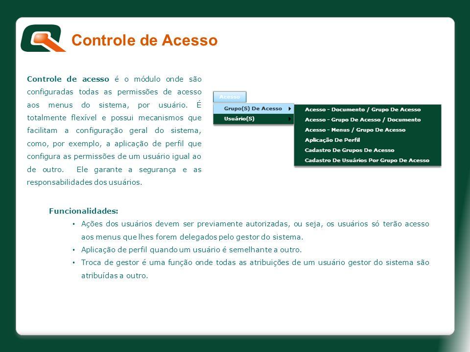 Controle de acesso é o módulo onde são configuradas todas as permissões de acesso aos menus do sistema, por usuário. É totalmente flexível e possui me