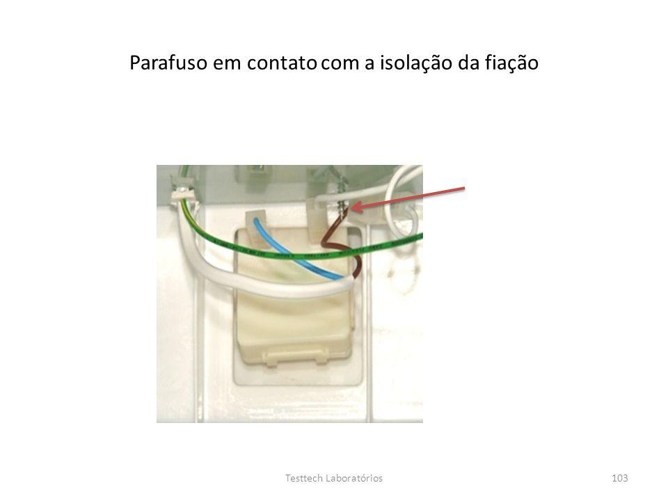 Parafuso em contato com a isolação da fiação 103Testtech Laboratórios