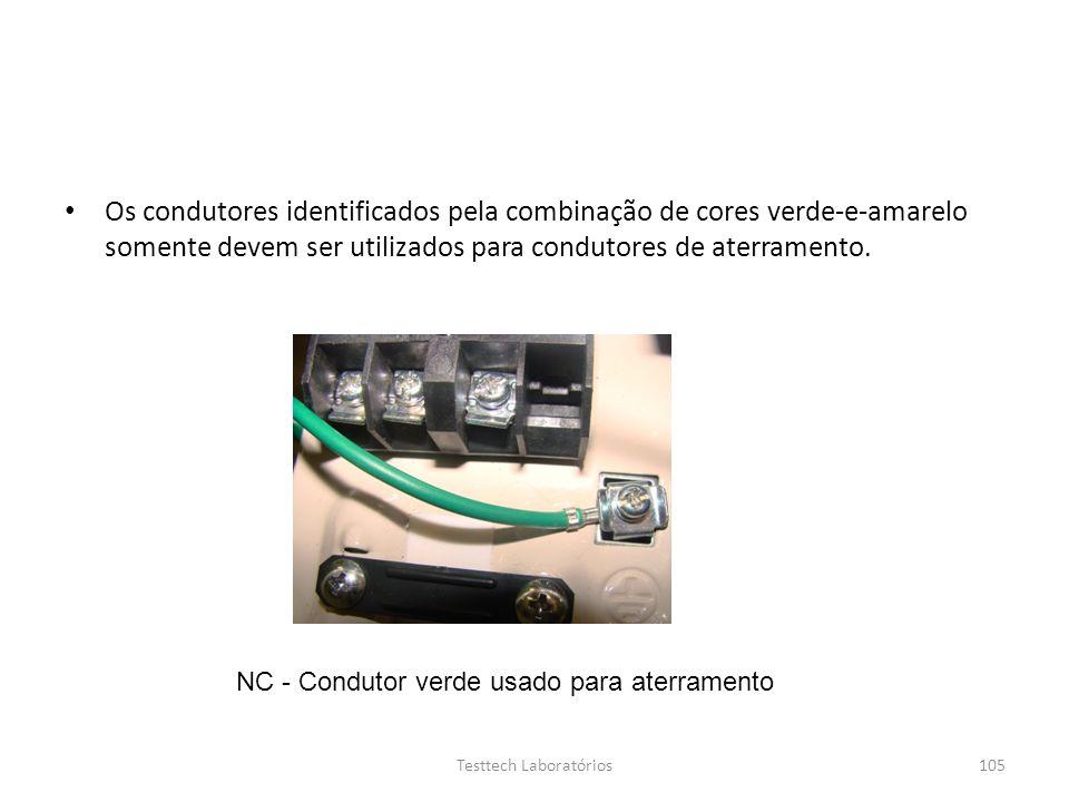 Os condutores identificados pela combinação de cores verde-e-amarelo somente devem ser utilizados para condutores de aterramento. NC - Condutor verde