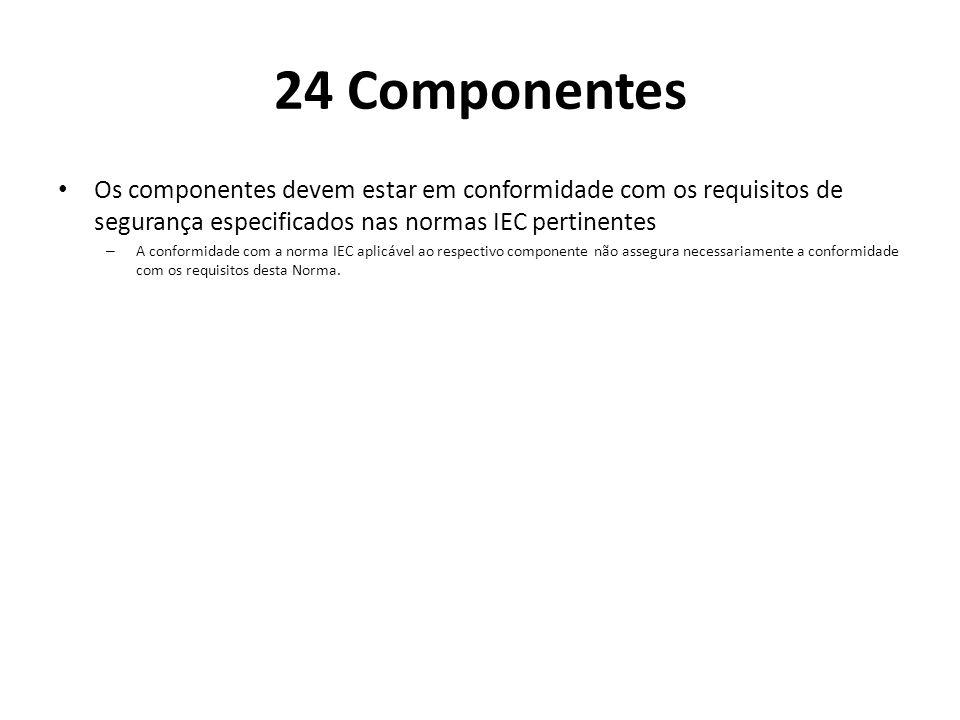 24 Componentes Os componentes devem estar em conformidade com os requisitos de segurança especificados nas normas IEC pertinentes – A conformidade com