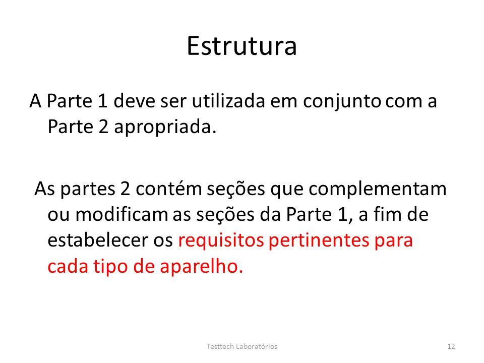 Estrutura A Parte 1 deve ser utilizada em conjunto com a Parte 2 apropriada. As partes 2 contém seções que complementam ou modificam as seções da Part