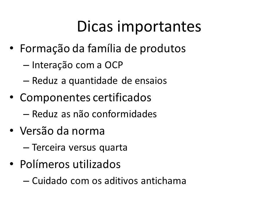 Dicas importantes Formação da família de produtos – Interação com a OCP – Reduz a quantidade de ensaios Componentes certificados – Reduz as não confor