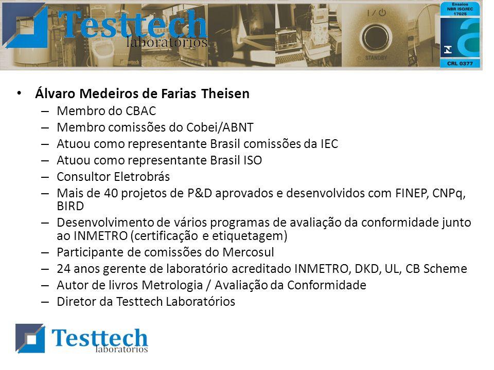 Álvaro Medeiros de Farias Theisen – Membro do CBAC – Membro comissões do Cobei/ABNT – Atuou como representante Brasil comissões da IEC – Atuou como re