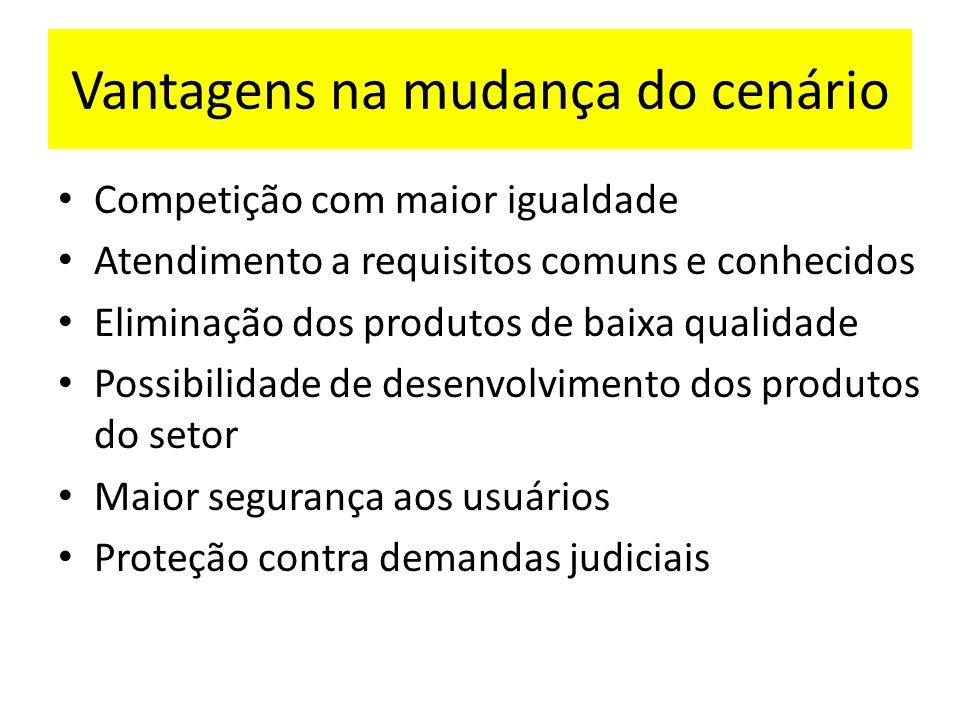 Vantagens na mudança do cenário Competição com maior igualdade Atendimento a requisitos comuns e conhecidos Eliminação dos produtos de baixa qualidade
