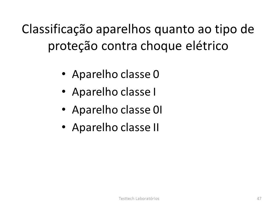 Classificação aparelhos quanto ao tipo de proteção contra choque elétrico Aparelho classe 0 Aparelho classe I Aparelho classe 0I Aparelho classe II 47