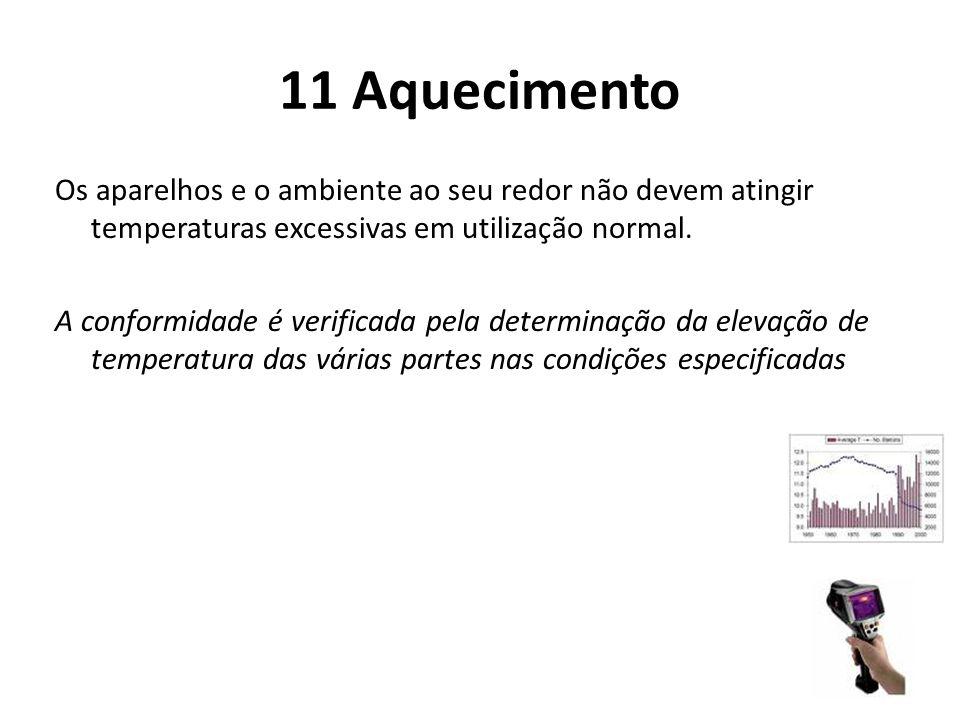 11 Aquecimento Os aparelhos e o ambiente ao seu redor não devem atingir temperaturas excessivas em utilização normal. A conformidade é verificada pela
