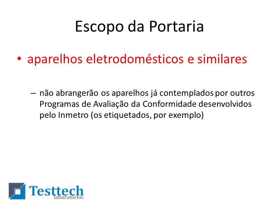 Escopo da Portaria aparelhos eletrodomésticos e similares – não abrangerão os aparelhos já contemplados por outros Programas de Avaliação da Conformid