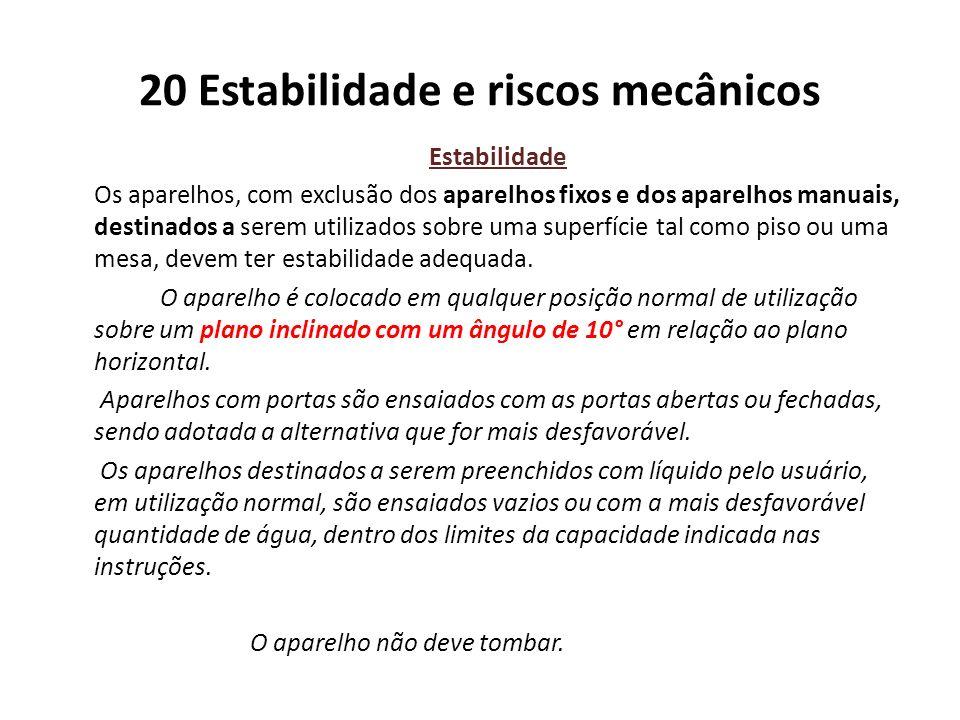 20 Estabilidade e riscos mecânicos Estabilidade Os aparelhos, com exclusão dos aparelhos fixos e dos aparelhos manuais, destinados a serem utilizados