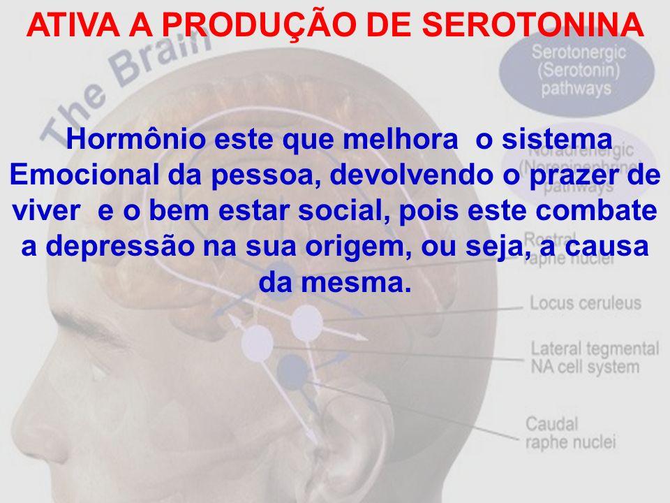 ATIVA A PRODUÇÃO DE SEROTONINA Hormônio este que melhora o sistema Emocional da pessoa, devolvendo o prazer de viver e o bem estar social, pois este c