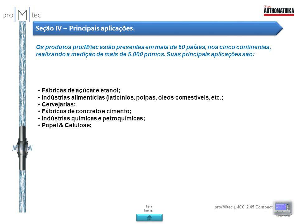 pro/M/tec µ-ICC 2.45 Compact Seção IV – Principais aplicações. Os produtos pro/M/tec estão presentes em mais de 60 países, nos cinco continentes, real