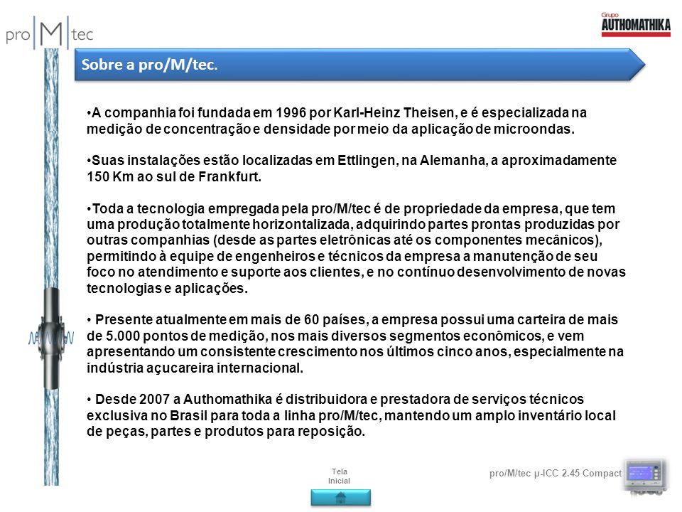 pro/M/tec µ-ICC 2.45 Compact Sobre a pro/M/tec. A companhia foi fundada em 1996 por Karl-Heinz Theisen, e é especializada na medição de concentração e