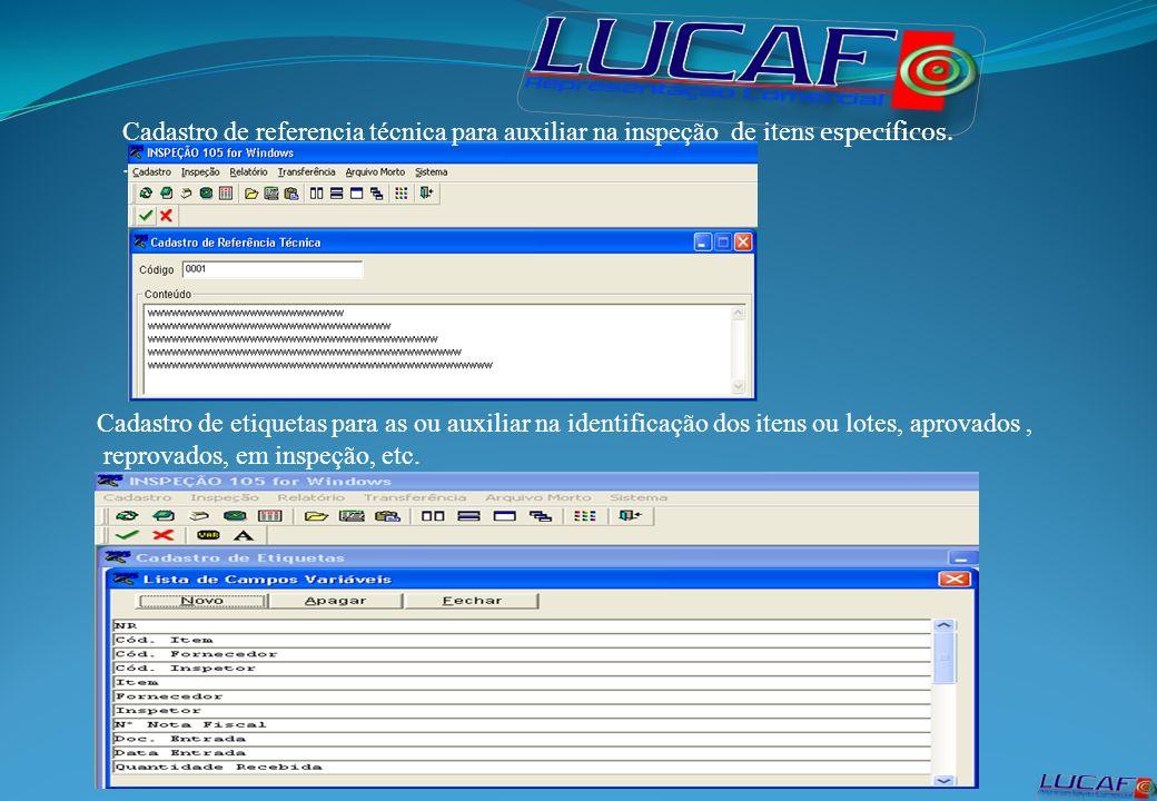 Cadastro de referencia técnica para auxiliar na inspeção de itens específicos..