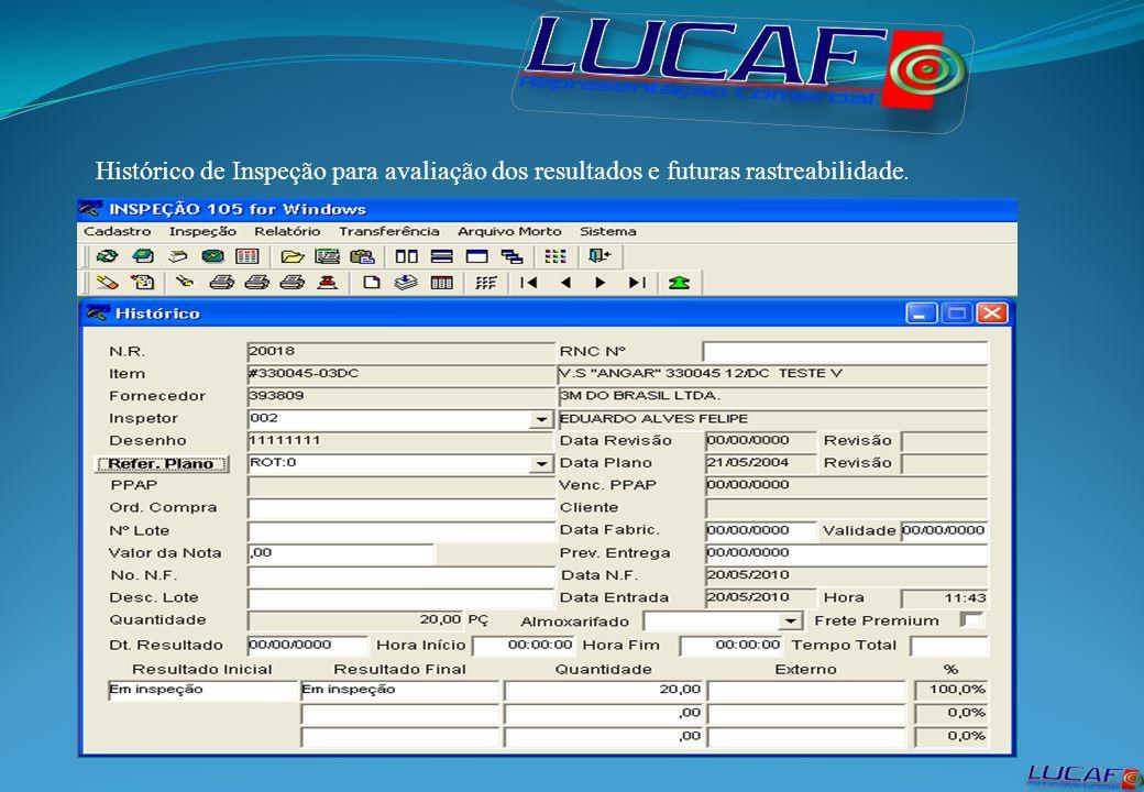 Histórico de Inspeção para avaliação dos resultados e futuras rastreabilidade.