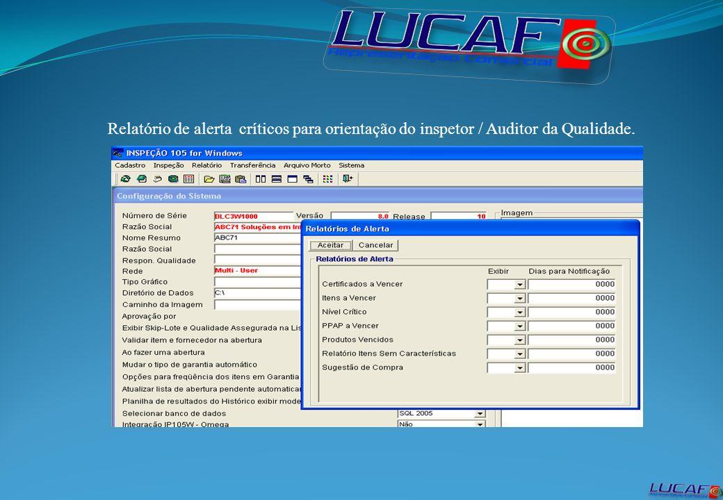 Relatório de alerta críticos para orientação do inspetor / Auditor da Qualidade.