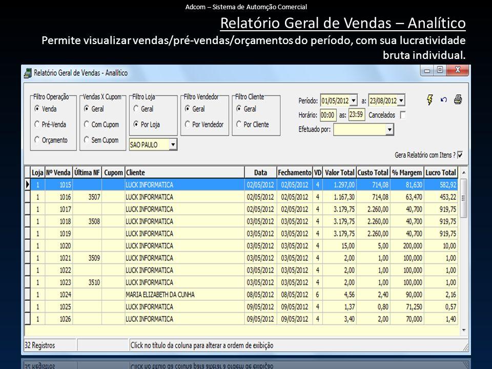 Relatório Geral de Vendas – Analítico Permite visualizar vendas/pré-vendas/orçamentos do período, com sua lucratividade bruta individual. Adcom – Sist