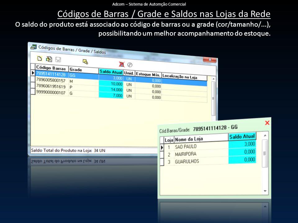 Códigos de Barras / Grade e Saldos nas Lojas da Rede O saldo do produto está associado ao código de barras ou a grade (cor/tamanho/...), possibilitand