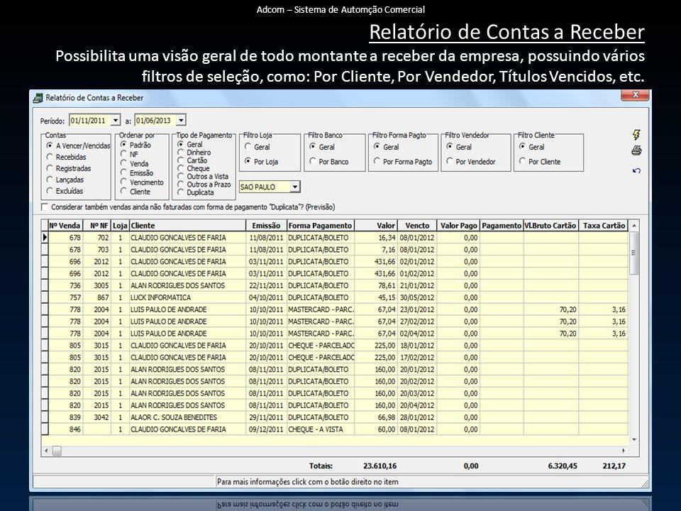 Relatório de Contas a Receber Possibilita uma visão geral de todo montante a receber da empresa, possuindo vários filtros de seleção, como: Por Cliente, Por Vendedor, Títulos Vencidos, etc.